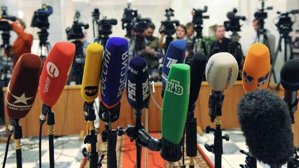 Микрофоны журналистов - Sputnik Latvija