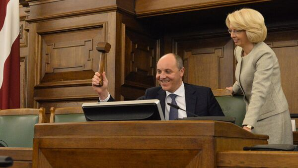 Председатель Верховной рады Украины Андрей Парубий и спикер Сейма Латвии Инара Мурниеце - Sputnik Latvija