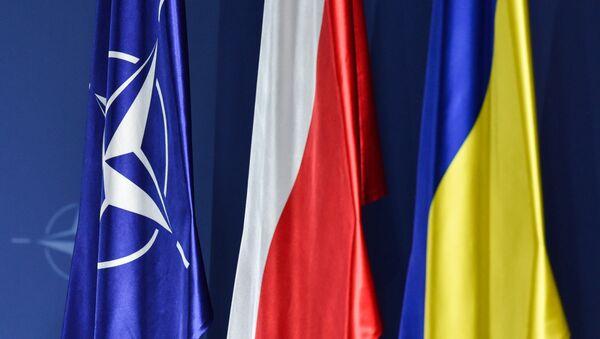 Флаги НАТО, Польши и Украины (слева направо) на саммите НАТО в Варшаве - Sputnik Латвия