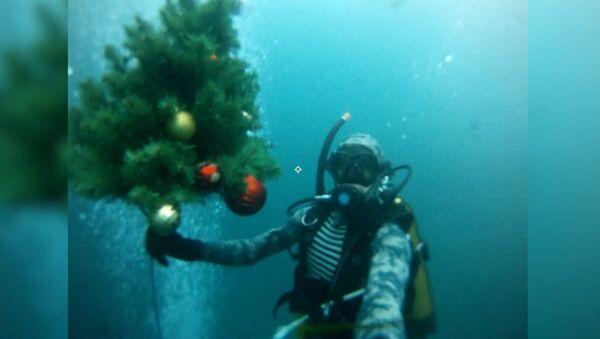 Дайверы погрузили новогоднюю елку под воду Голубого озера - Sputnik Латвия