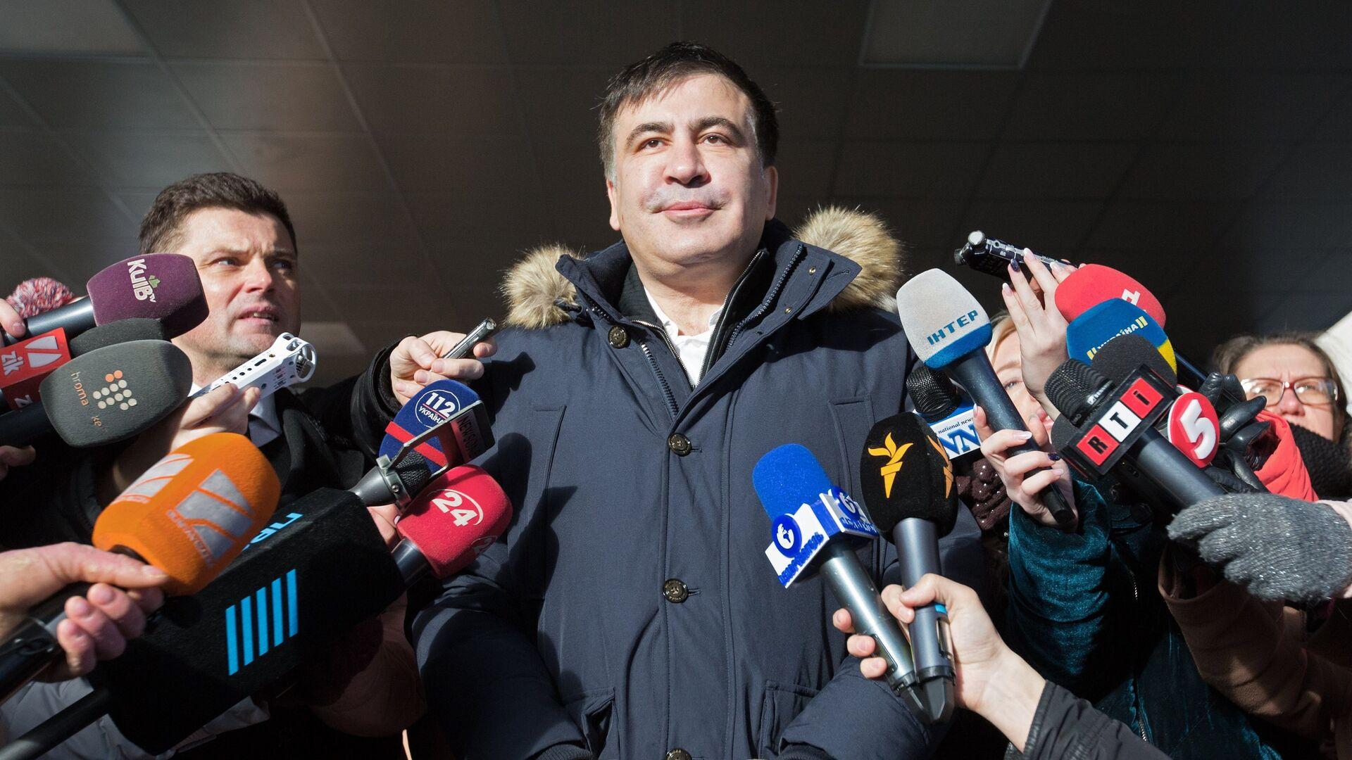 Бывший губернатор Одесской области Украины и лидер политической партии Рух нових сил Михаил Саакашвили (в центре) - Sputnik Latvija, 1920, 05.10.2021