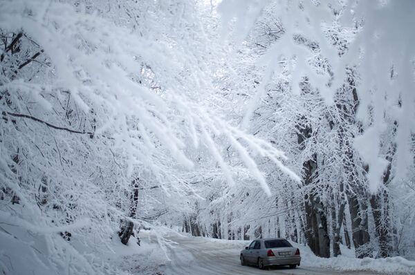 Automašīna brauc pa sniega klātu ceļu netālu no Tbilisi, Gruzija - Sputnik Latvija