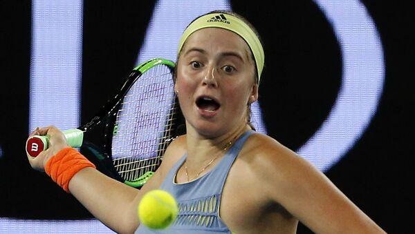 Теннисистка Елена Остапенко в матче третьего круга Australian Open против эстонки Анетт Контавейт - Sputnik Латвия
