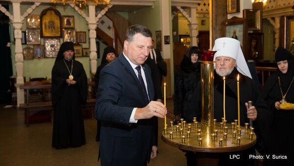 Президент Латвии Раймондс Вейонис нанес визит главе Латвийской православной церкви митрополиту Александру, 23 января 2018 года - Sputnik Латвия