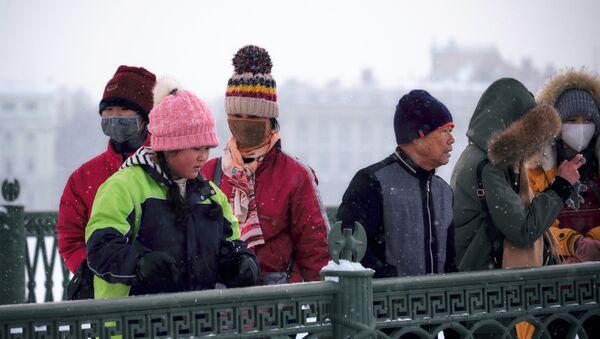 Туристы на Иоанновском мосту, соединяющем Петропавловскую крепость с Петроградским островом, в Санкт-Петербурге - Sputnik Латвия