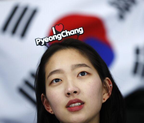 Līdzjutēja no Dienvidkorejas XXIII ziemas Olimpiskajās spēlēs Phjončhanā - Sputnik Latvija