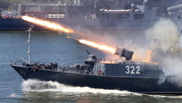 Работа реактивной бомбометной установки РБУ 6000 на малом противолодочном корабле Балтийского флота Кабардино Балкария - Sputnik Латвия