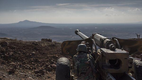 Военнослужащий Сирийской арабской армии (САА) на огневой позиции - Sputnik Латвия