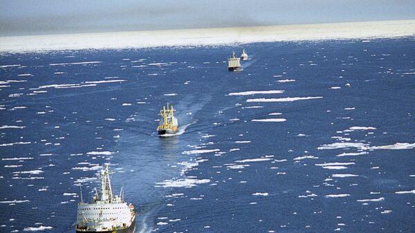 Караван транспортных судов в сопровождении ледоколов проходит по Северному морскому пути. - Sputnik Latvija