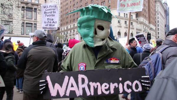 Протесты в США против ударов по Сирии - Sputnik Латвия