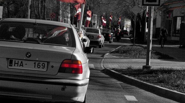 Автопробег с латвийскими флагами в Лиепае - Sputnik Латвия