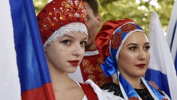 Празднование Дня Государственного флага РФ - Sputnik Latvija