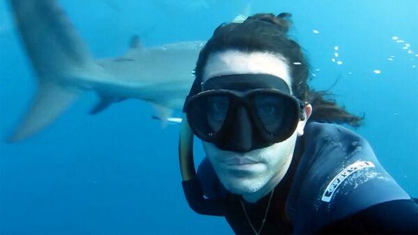 Фридайвер Брайан Руло встретился с акулами лицом к лицу - Sputnik Латвия