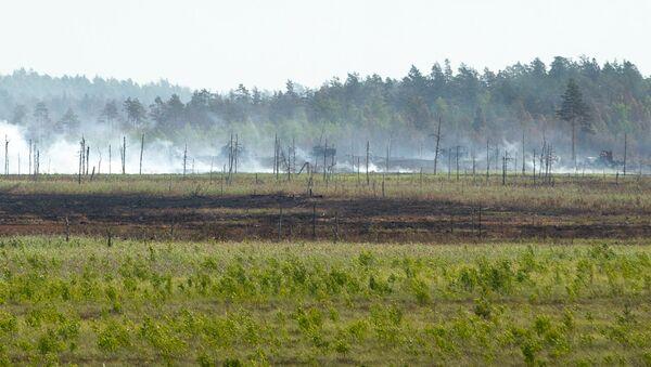 Пожар на полигоне Адажи, начавшийся в воскресенье 10 июня - Sputnik Латвия