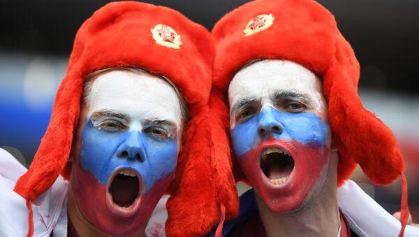 Болельщики сборной России на матче-открытии ЧМ по футболу 2018 в Москве - Sputnik Латвия