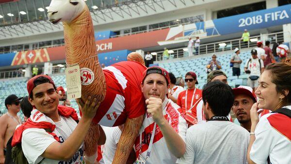 Болельщики сборной Перу после матча группового этапа чемпионата мира по футболу между сборными Австралии и Перу. - Sputnik Латвия