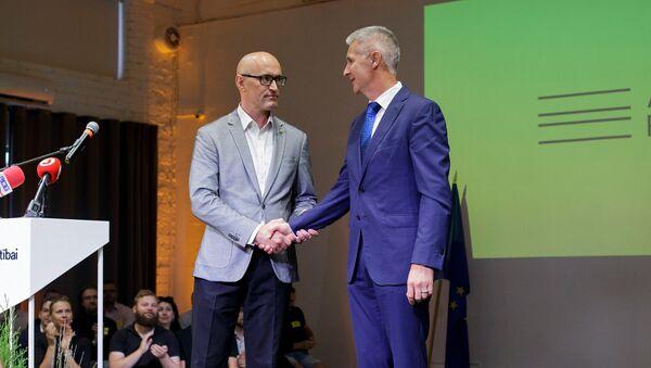 Даниэль Павлютс и Артис Пабрикс на конференции объединения Для развития - За! - Sputnik Latvija