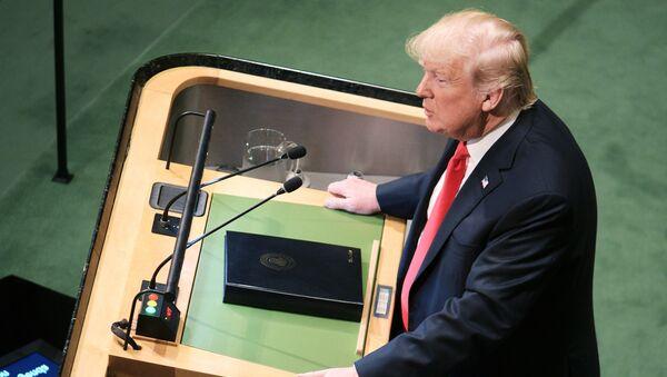 Президент США Дональд Трамп выступает на Генеральной Ассамблее Организации Объединенных Наций в Нью-Йорке - Sputnik Латвия