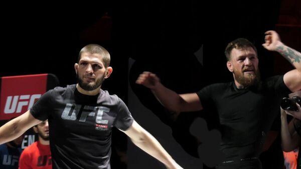 Макгрерор оскорбил Нурмагомедова на открытой тренировке - видео - Sputnik Латвия