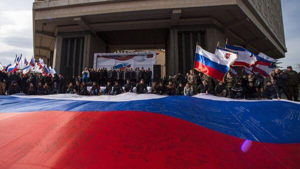 Празднование годовщины Крымской весны в Симферополе - Sputnik Латвия