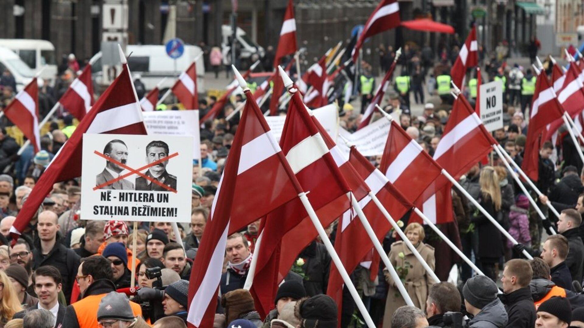Шествие легионеров Ваффен СС и их сторонников в Риге - Sputnik Латвия, 1920, 08.09.2021