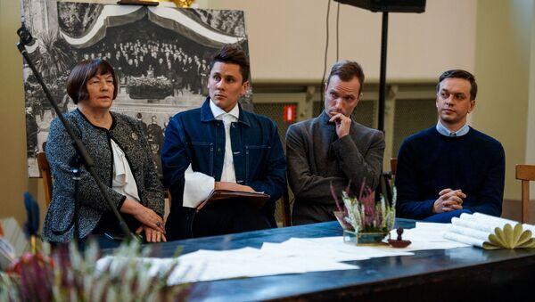 Директор Латвийского Национального художественного музея Мара Лаце, музыкант Янис Шипкевицс-мл. и Рейнс Сеянс, директор Национального театра Янис Вимба (слева направо) - Sputnik Latvija